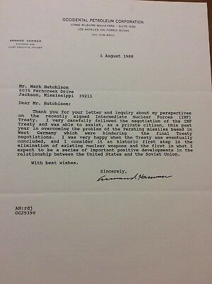 Armand Hammer Signed Letter Occidental Petroleum's CEO Re: Treaty With USSR
