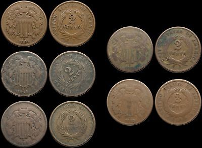 Two Cent Piece 2c, Lot of 5, 1864 and 1865, one with rotated dies