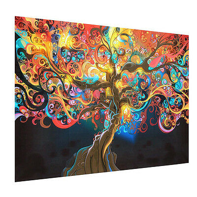 Poster Home office Decor Psychedelic Tree Abstract Art Silk Cloth Wall Sticker