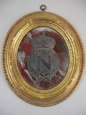 Napoleon Shield Crest Medallion Plaque Gold Gilt Frame French Grand Tour Style