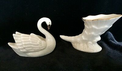 2 Lenox Small Figurines: a Swan and Shell Excellent Condition