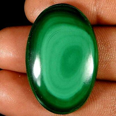 43.95Cts. 100% NATURAL DESIGNER GREEN MALACHITE OVAL CABOCHON LOOSE GEMSTONE