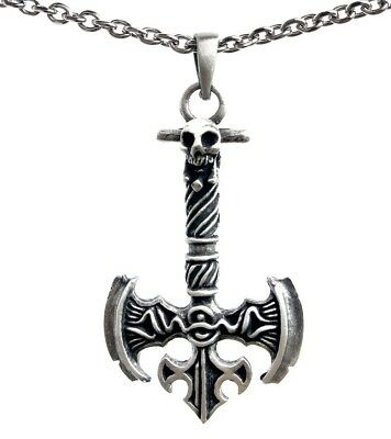 Viking Labrys Double edged Battle Axe Pewter Pendant Stainless Steel Necklace