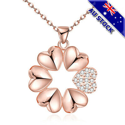 18K Rose Gold Filled GF CZ Crystal Love Heart Wreath Bridemaid Pendant Necklace