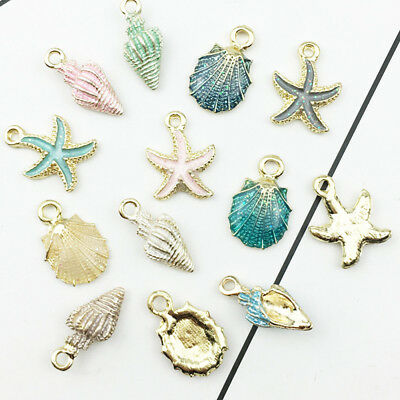 13Pcs Conch Sea Shell Pendant DIY Charms Jewelry Making Handmade Accessories KT