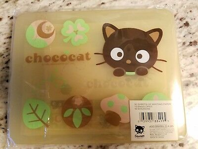 New Chococat Stationery set w/paper, envelopes & stickers in plastic case (2002)