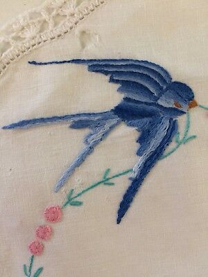 Vintage retro kitsch bluebird embroidered doily