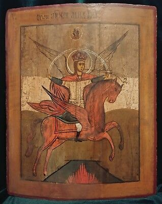 ANTIQUE 1760-80s HAND PAINTED RUSSIAN ICON OF ST.MIHAIL (ST.MICHAEL)