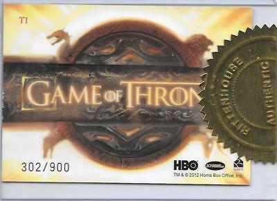 Game of Thrones Season 1 Title LOGO Case Topper Incentive Insert T1 Card 302/900