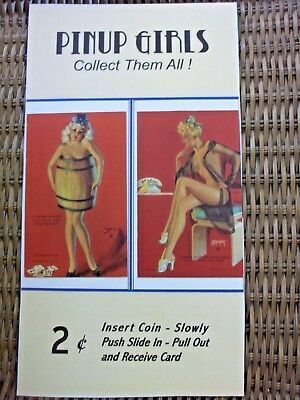 "Mutoscope or Exhibit Supply Card Vendor Marquee Card 2¢ Pinup Girlie 7"" X 12 3/4"