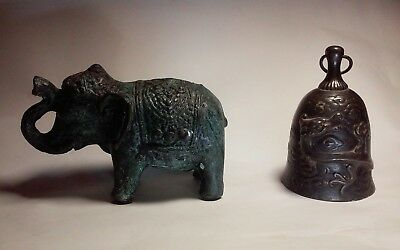 2 interesting vintage cast metal Asian items Chinese ? Bronze? Bell ,elephant