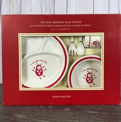 New in Box POTTERY BARN LOVE BUG VALENTINE Melamine BABY/TODDLER Place Setting