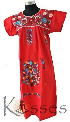 NEW Embroidered Pueblo Peasant Hand Embroidered Mexican Dress Hippie Vintage XL