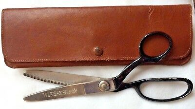 "Vintage WISS Pinking Shears Scissors 9"" black handle sewing brown leather case"