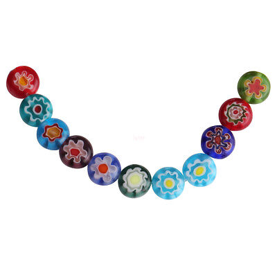 50Pcs Mixed Color 8mm Flower Round Glass DIY Loose Spacer Flat Beads Finding L