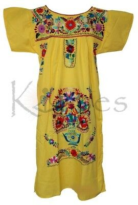 065dc986174b9 Embroidered Pueblo Peasant Hand Embroidered Mexican Dress Hippie Vintage  YLO XL