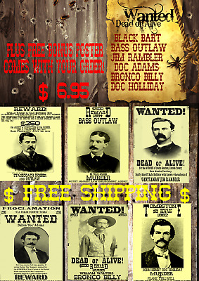 Old West Wanted Poster Outlaw Reward Doc Holliday Black Bart Earp Ringo