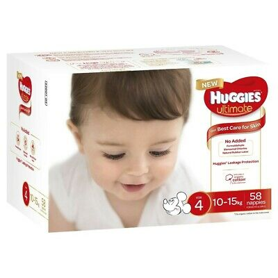 Huggies Ultimate Nappies Jumbo Toddler Size 4/10-15kg 58 Pack