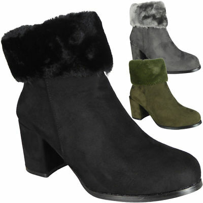 Womens Ankle Zip Boots Ladies Faux Suede Fur High Heel Casual Work Shoes Sizes