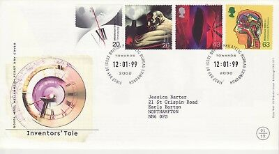 GB Stamps First Day Cover Inventor's Tale, clock, steam etc SHS Millennium 1999