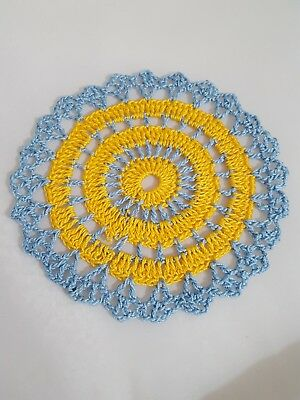 Goldenrod in Baby Blue  Bumblebee doily Approximately 5 Inches.