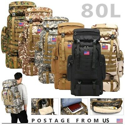 80L Outdoor Military Tactical Rucksacks Camping Hiking Trekking Backpack Bag