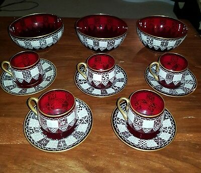 Bohemian Style Red Glass tea cups and bowls