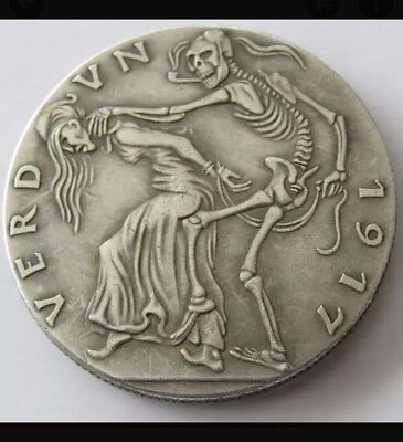 Hobo Nickel  GERMANY, VERDUN 1917,CAST BRONZE MEDAL BY KARL GOETZ, ENGLAND