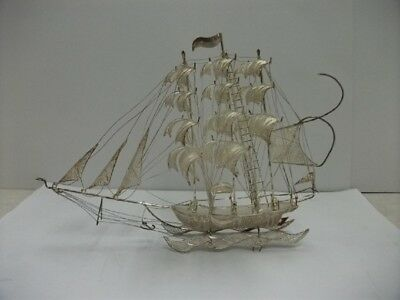 Sailboat of silver wire workmanship. STERLING SILVER FILIGREE SHIP.# 64g/ 2.25oz