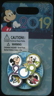 WDW DLR Parks 2019 Dated Mickey Minnie Donald Goofy Spinner Disney Pin