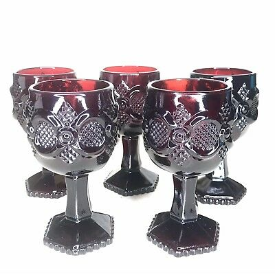 Avon Cape Cod 1876 Red Goblets Footed Wine Glass Cranberry Set of 5 Vintage 4.5""