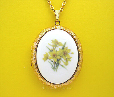 Porcelain YELLOW DAFFODILS Jonquil CAMEO Locket Pendant Necklace Birthday Gift