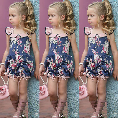 Summer Toddler Kids Baby Girl Flower Ruffle Romper Jumpsuit Outfits Clothes 1-5T