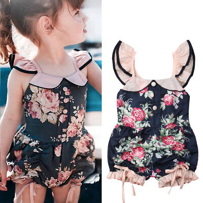 Toddler Kids Baby Girl Flower Ruffle Romper Bodysuit Jumpsuit Outfits Sunsuit