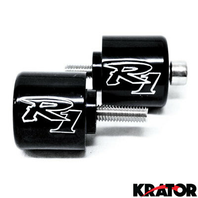 "Black Yamaha ""R1"" Engraved Motorcycle Bar Ends Weights Sliders YZF-R1 1998-2012"