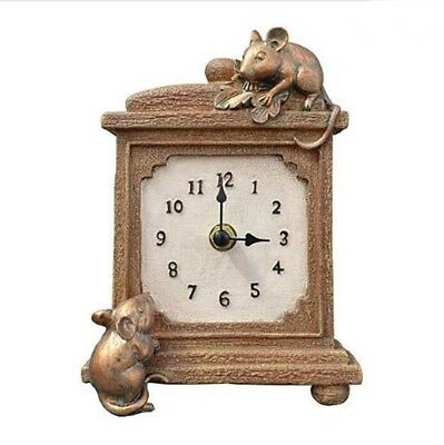MND Classic Textured Surface Brown Mantel Clock Vintage Style Mice Sculptures.