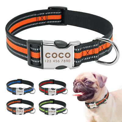 Nylon Reflective Dog Collar Personalised ID Tags Engraved for Small Large Dogs