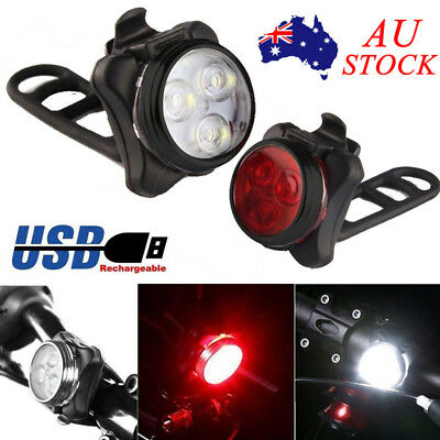 Waterproof USB Rechargeable COB Bicycle Bike Front Rear Tail LED Lamp Light AU