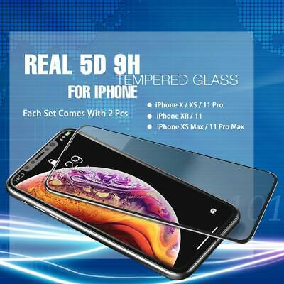 2x 5D 9H Full Cover Tempered Glass Screen Protector for iPhoneX XS XR 11 Pro Max
