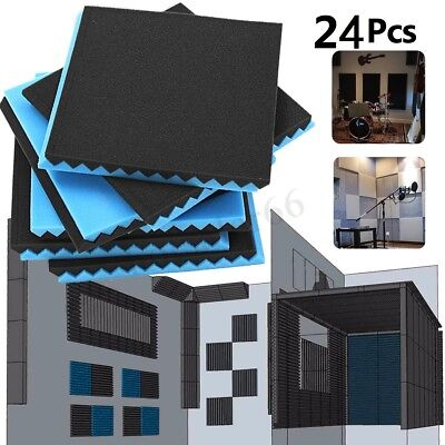 24 Pack Acoustic Panels Studio Soundproofing Egg Foam Wall Tiles 12''