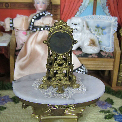 Antique Dollhouse GOLD METAL CLOCK Vtg Miniature Victorian Early 1900s Penny Toy