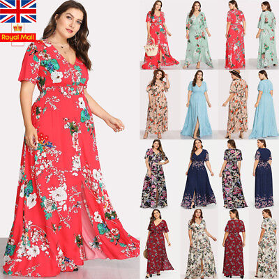 ec89ab25d Plus Size Women V Neck Floral Maxi Dress Ladies Casual Summer Holiday  Sundress