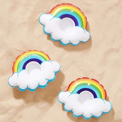3pcs Inflatable Rainbow Mini Cloud Cup Holder Swimming Pool Floating Party Toys