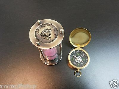 Antique Brass Sand Timer Vintage Lid Compass Set Of Two Collectible Gift