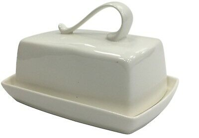 LARGE Bell Top Handle Butter Dish White Classic Large Ceramic Butter Dish