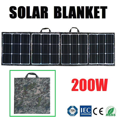 200W Folding Solar Panel Blanket Flexible Portable Bag 12V Battery Charging Mat