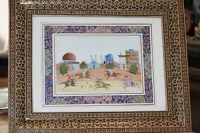 persian hand painted picture in attractive wooden frame