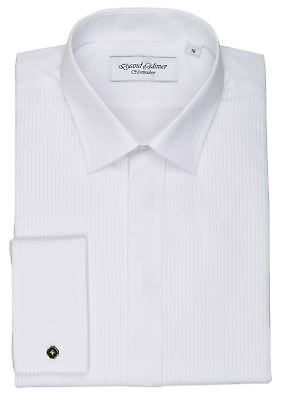 David Latimer Mens Mock Pleat 2 Piece Collar Dress Shirt in White