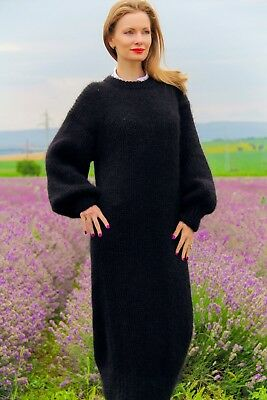 Бlack hand knitted mohair sweater slouchy extra fuzzy long dress SUPERTANYA