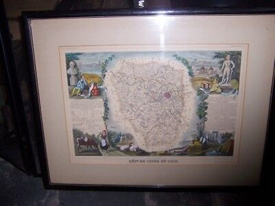 Map lithograph LEVASSEUR  DEPARTMENT DE SEINE ET OISE CIRCA 1849. hand color